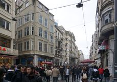 Eople walking on the famous  Ä°stiklal Cd.shopping street  around Taksim area in Istanbul. Istanbul, Turkey - 14 April ,2019 : People walking on the famous stock image