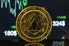 EOS är en modern väg av utbytet och denna crypto valuta royaltyfri fotografi