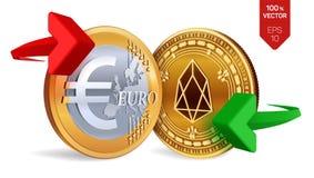 EOS all'euro cambio Ethereum Euro violento a metà contro vecchia priorità bassa Cryptocurrency Monete dorate con l'EOS e l'euro s royalty illustrazione gratis