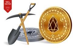 EOS-Bergbaukonzept isometrische körperliche Münze des Stückchen 3D mit Hacke und Schaufel Digital-Währung Cryptocurrency golden u stock abbildung