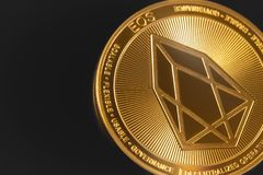Eos coin cryptocurrency. On the black background stock photography