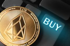 Eos coin cryptocurrency. With buy button stock illustration