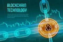 EOS. Crypto currency. Block chain. 3D isometric Physical golden EOS coin with wireframe chain on blue financial background. Blockc. Hain concept. Editable stock photos