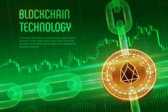 EOS. Crypto currency. Block chain. 3D isometric Physical golden EOS coin with wireframe chain on blue financial background. vector illustration