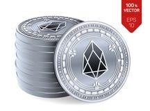 EOS Crypto devise pièces de monnaie 3D physiques isométriques Devise de Digital Pile de pièces en argent avec le symbole d'EOS d' illustration stock