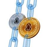 EOS Cryptocurrency Blockchain Золотой и серебряный EOS чеканит с цепью wireframe равновеликие физические монетки 3D засорением иллюстрация штока