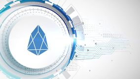 EOS cryptocurrency icon animation white digital elements technology background. Video royalty free illustration