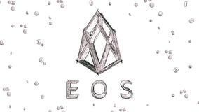 Eos cryptocurrency logo 3D nakreślenia ilustracyjny styl ilustracja wektor