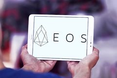 EOS Cryptocurrency logo. Logo of EOS Cryptocurrency on samsung tablet royalty free stock photography