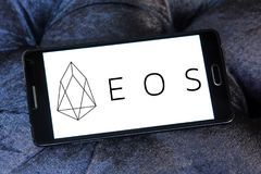 EOS Cryptocurrency logo. Logo of EOS Cryptocurrency on samsung mobile stock photography