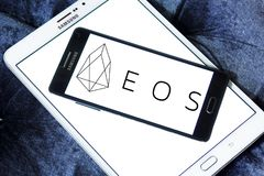 EOS Cryptocurrency logo. Logo of EOS Cryptocurrency on samsung mobile royalty free stock photography