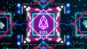 EOS cryptocurrency sign on the digital background. Financial theme
