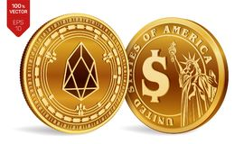 EOS. Dollar coin. 3D isometric Physical coins. Digital currency. Cryptocurrency. Golden coins with EOS and Dollar symbol. On white background. Vector Royalty Free Stock Images