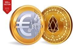 EOS Euro pièce de monnaie pièces de monnaie 3D physiques isométriques Devise de Digital Cryptocurrency Pièces de monnaie d'or ave Image libre de droits