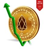 EOS. Growth. Green arrow up. EOS index rating go up on exchange market. Crypto currency. 3D isometric Physical Golden coin isolate. D on white background. Vector Royalty Free Stock Photography