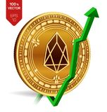 EOS. Growth. Green arrow up. EOS index rating go up on exchange market. Crypto currency. 3D isometric Physical Golden coin isolate. D on white background. Vector Stock Images