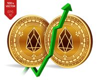 EOS. Growth. Green arrow up. EOS index rating go up on exchange market. Crypto currency. 3D isometric Physical Golden coins isolat. Ed on white background Royalty Free Stock Images