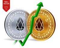 EOS. Growth. Green arrow up. EOS index rating go up on exchange market. Crypto currency. 3D isometric Physical Golden and silver c. Oins isolated on white Stock Photos