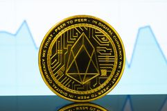 EOS is a modern way of exchange and this crypto currency. Is a convenient means of payment in the financial stock photos