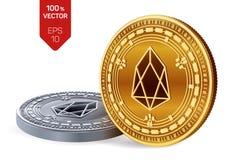 EOS monete fisiche isometriche 3D Valuta di Digital Cryptocurrency Monete dorate e d'argento con il simbolo di EOS isolate sulla  Immagini Stock