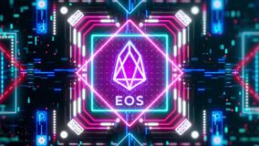 EOS money sign on the digital background. Finance and cryptocurrency video.