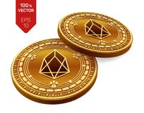 EOS Schlüsselwährung isometrische körperliche Münzen 3D Digital-Währung Goldene Münzen mit EOS-Symbol lokalisiert auf weißem Hint Lizenzfreies Stockfoto
