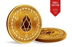 EOS Schlüsselwährung isometrische körperliche Münzen 3D Digital-Währung Goldene Münzen mit EOS-Symbol lokalisiert auf weißem Hint Lizenzfreies Stockbild