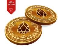 EOS Valuta cripto monete fisiche isometriche 3D Valuta di Digital Monete dorate con il simbolo di EOS isolate su fondo bianco Bl Fotografia Stock Libera da Diritti