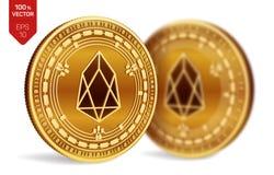 EOS Valuta cripto monete fisiche isometriche 3D Valuta di Digital Monete dorate con il simbolo di EOS isolate su fondo bianco Bl illustrazione di stock