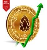 EOS wzrost zieleń strzała zieleń EOS wskaźnika ocena iść up na wekslowym rynku Crypto waluta 3D isometric Fizyczna Złota moneta o ilustracji