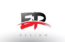 EP E P刷子与红色和黑Swoosh刷子前面的商标信件 免版税库存照片