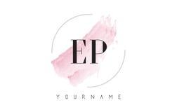 EP E P水彩信件与圆刷子样式的商标设计 图库摄影