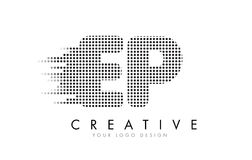 EP E P Letter Logo with Black Dots and Trails. Stock Photos