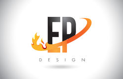 EP E P Letter Logo with Fire Flames Design and Orange Swoosh. Stock Photo