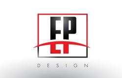 EP E P Logo Letters con colores rojos y negros y Swoosh Imagen de archivo