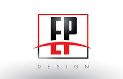 EP E P Logo Letters with Red and Black Colors and Swoosh. Stock Image