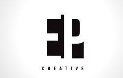 EP E P White Letter Logo Design with Black Square. Royalty Free Stock Photo