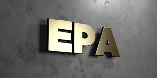 Epa - Gold sign mounted on glossy marble wall  - 3D rendered royalty free stock illustration. This image can be used for an online website banner ad or a print Royalty Free Stock Photography