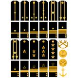 Epaulets and stripes navy Russian army. Shoulder straps and stripes with signs of distinction of the Navy of the Russian Army. An illustration on a white Stock Image