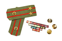 Epaulettes, medal ribbon and buttons Stock Photography