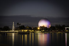 Epcot Center Reflections at Christmas Royalty Free Stock Image