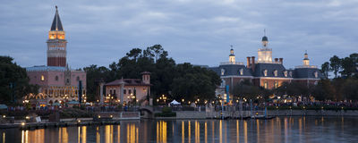 Epcot Center World Showcase at Twilight Stock Image