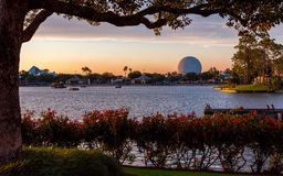Epcot in Disney World at Sunset royalty free stock photography