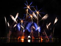 Epcot`s IllumiNations: Reflections of Earth. ORLANDO, FLORIDA - December 14th, 2015 - Epcot`s IllumiNations: Reflections of Earth fireworks show at Walt Disney stock photos