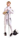 epee costume ребенка ограждая удерживание Стоковые Фото