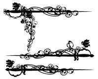 Epee sword among rose flowers  black and white vector design Royalty Free Stock Image