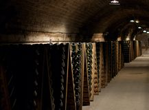 epernay地窖的香槟 库存图片