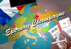 Epernay Champagne city travel and tourism destination concept. F. Rance flag and Epernay Champagne city on map. France travel concept map background. Tickets vector illustration