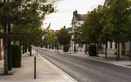 Avenue de Champagne Sunset. Epernay, France - June 13, 2017: Avenue de Champagne with several Champagne houses along the road during sunset in Epernay, France Stock Photography