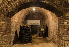 Charles Mignon Cellars. Epernay, France - June 9, 2017: Caves of Champagne Charles Mignon in Epernay, France Royalty Free Stock Photography